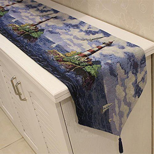 Lighthouses are enchanting, magical and nostalgic which is  why people like getting lighthouse memorabilia as gifts. Furthermore, there are so many types of gifts  for lighthouse lovers from lighthouse bedding, lighthouse throw blankets,  lighthouse kitchenware and other Lighthouse home décor accents.      Letool®️️️️ 13 x 71 inch Mediterranean Lighthouse Cotton soft Tapestry Table Runner Home Event Party Decor