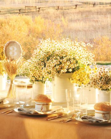 Rustic tablescape with wildflowers aplenty