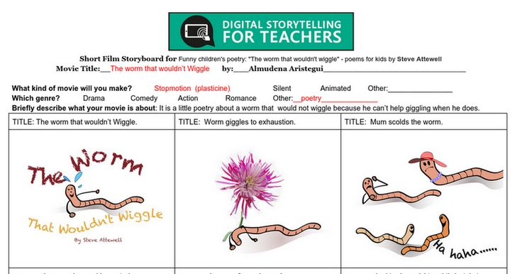 """Module 3. Favourite Activity. My storyboard for  """"The worm that wouldn't wiggle"""" - poems for kids by Steve Attewell.  I chose to make my own drawings with an ipad. After trying the storyboardthat I found that depending on the complexity of the drawings, it is faster and more effective to use any graphic app for the ipad because there are many inexpensive and good ones. I used the Graphic app."""