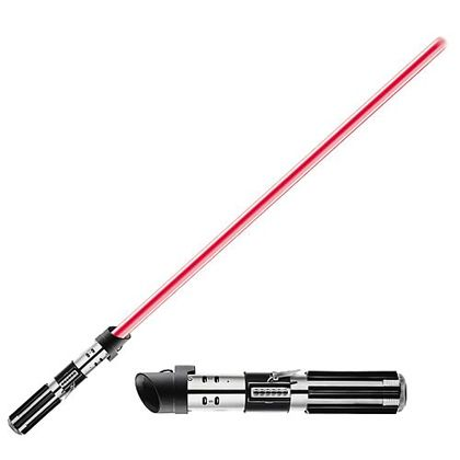 Darth Vader Blade Lightsaber There's no better weapon for slaying Sith lords! This Darth Vader Force FX Lightsaber Replica from the Star Wars saga features durable, die-cast metal parts that look and feel like the real thing! Its sturdy, red, polycarbonate blade is removable from the hilt and features realistic power-up and power-down glowing light effects. The lightsaber also includes digitally recorded and motion-sensor-