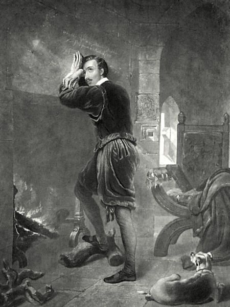 Nineteenth-century engraving by William Barraud depicting Saint Philip Howard, 20th Earl of Arundel in the Tower of London