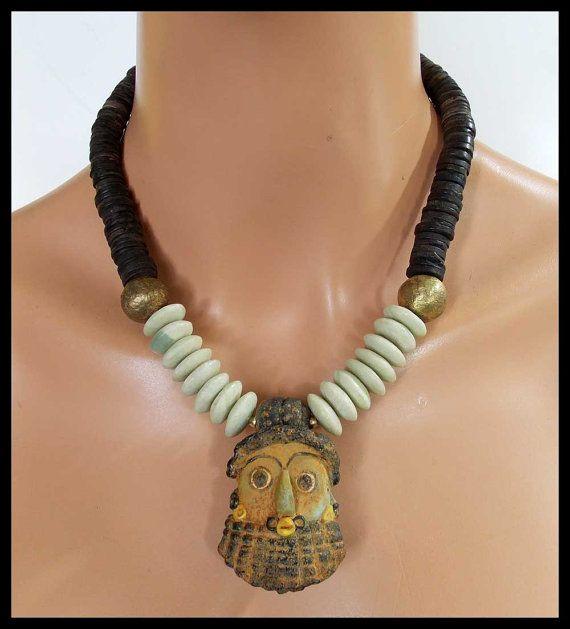 PHOENICIAN - Handmade Primitive Phoenician Mask - Nigerian Jade - Coconut Heishi Necklace