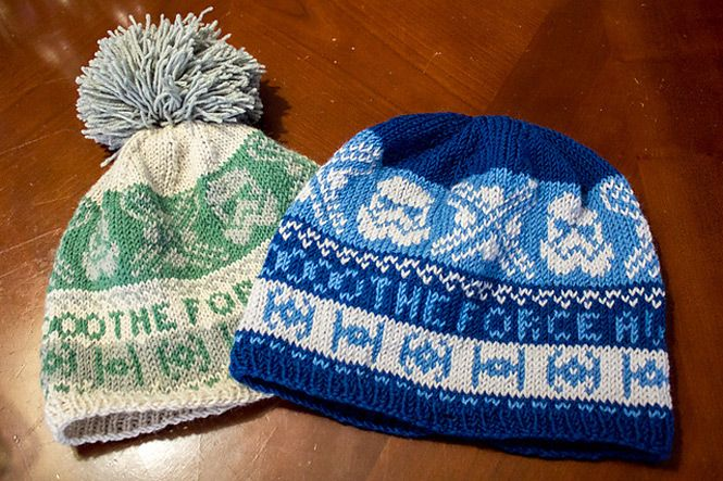 You know you want to make this: A free pattern for a The Force Awakens knit hat by Hannah L on Ravelry.