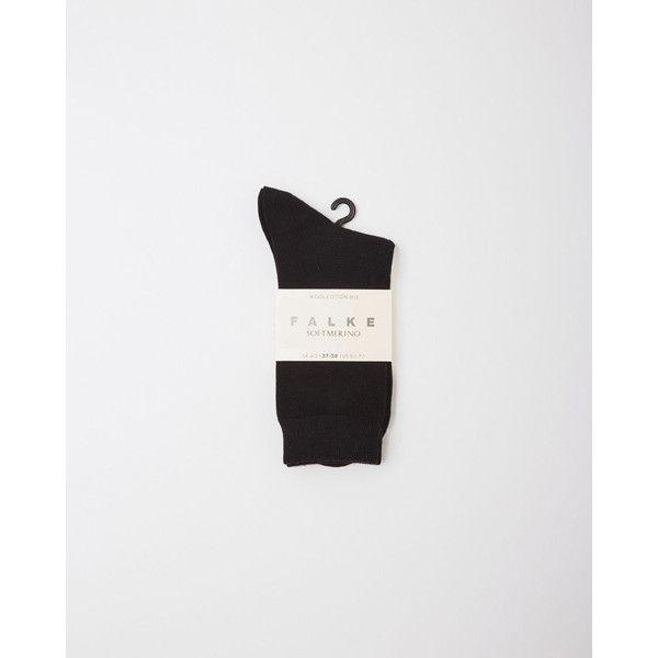 Falke Falke Softmerino Socks (52 BAM) ❤ liked on Polyvore featuring intimates, hosiery, socks, black, falke socks, logo socks, falke and falke hosiery