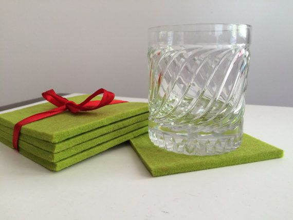 Green Square Coasters 5mm Thick New Zealand Wool by FeltFabrica