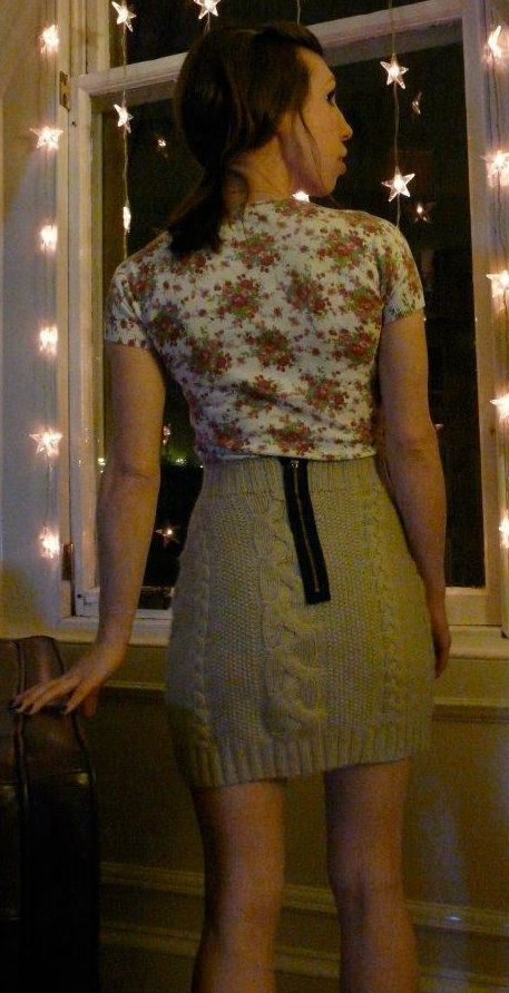 Turn an old sweater (or thrift store sweater) into a skirt. [~h: This is cute, but i fear only on super skinny people.]