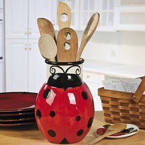 Ladybug Kitchen Decor | Red Ceramic Ladybug Utensil Holder Kitchen Decor | eBay