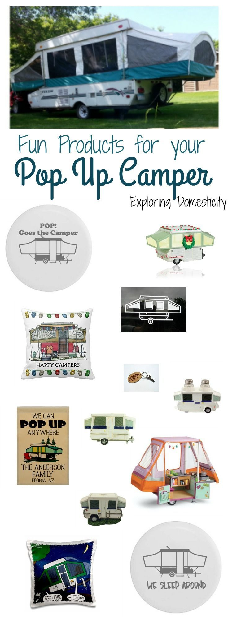 Fun pop up camper products - clothing, window stickers, pillow covers, camp signs, Christmas ornaments, etc.  Popup camper   tent trailer   pop-up camper  #popupcamper #tenttrailer #popupcamperremodel #camperremodel #camperproducts