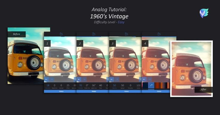 Give a 1960's Vintage feel to any of your photos! Add Fade, Grain, Light leaks, and more. Check out this simple Analog tutorial to learn how. 1. Tap Filters > Analog > Tools tab > Basic. Raise Brightness and Contrast to give your photo a retro glow. 2. Within Analog's Tools tab, tap Film and …