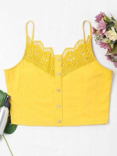 2ca6e2b9b74 $10.15 - Lace Crochet Crop Cami Top - Bright Yellow - Bright Yellow M - -  labeltail.com #Lace #Crochet #Crop #Cami #Top #- #Bright #Yellow #- #Bright  ...