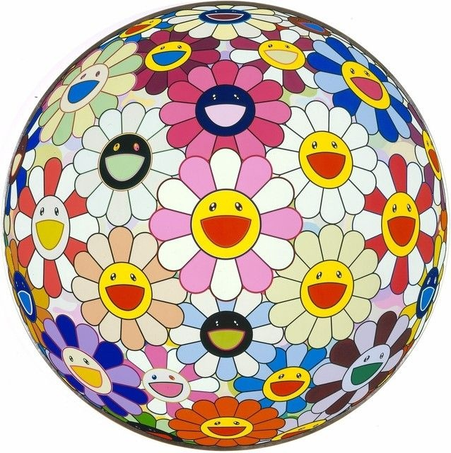 Takashi Murakami, Flowerball Pink (2007) acrylic and platinum lead on canvas