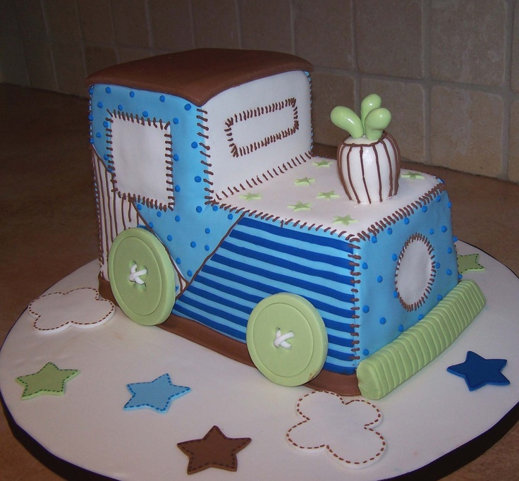 Train Baby Shower Cake Part - 25: Toy Train Baby Shower Cake - This Cake Was Designed To Match The Baby Shower  Invitation
