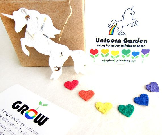 Unicorn Rainbow Gag Gift - Birthday Plantable Seed Paper Unicorn Farts with Plantable Pot - Optional indoor greenhouse seed growing kit