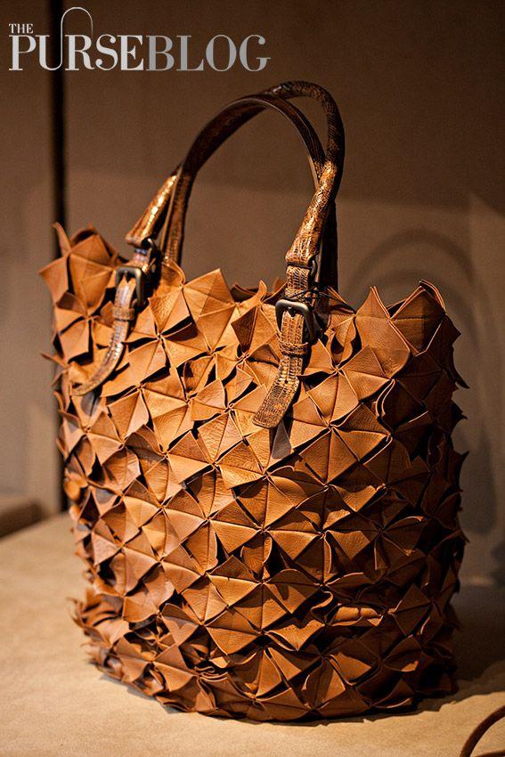 Bottega Veneta Cigar Origami Plume Leather Tejus Bag - $8,500