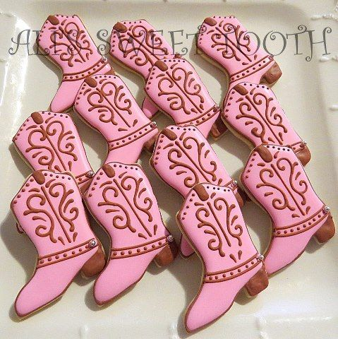 pink cowboy boots cookies (these are pretty  fancy... I have the boot cookie cutter tho)