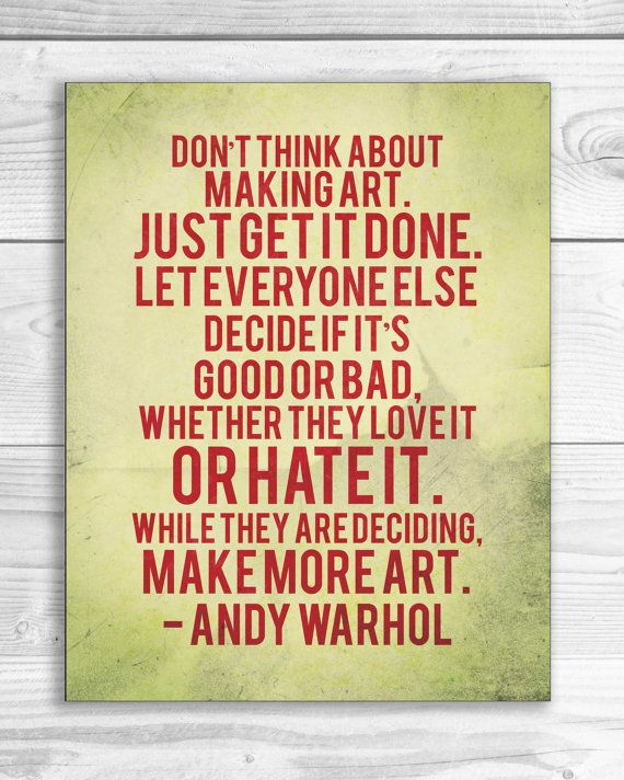 Andy Warhol Quote Print, Art Quote Poster 11 x 14