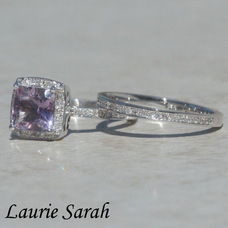 Princess Cut Amethyst Engagement Ring and Wedding Band Set with Diamonds - LS1721. $2,098.50, via Etsy.