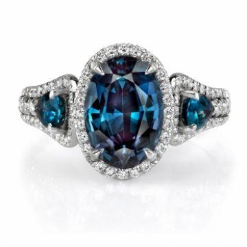 Omi Gems: Alexandrite and Diamond 3-Stone Ring #alexandrite #jewelry