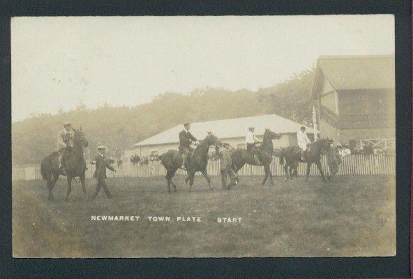 Newmarket Town Plate Horse Race Start 1908 RP Postcard Suffolk. http://deanosaur1972-postcards.ebid.net