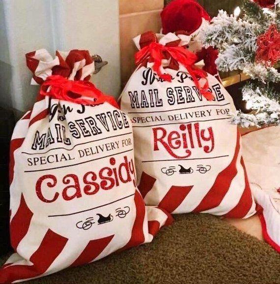 Personalised Reindeer Christmas Eve Stocking Christmas Santa Sack Girl Boy Gift