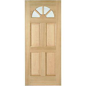 Wickes Carolina External Oak Veneer Door Glazed 4 Panel 1981x762mm