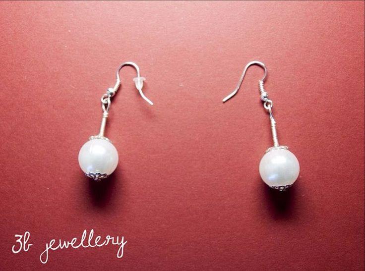 #simple #white #earrings #3bjewellery #wirewrapping #beginner