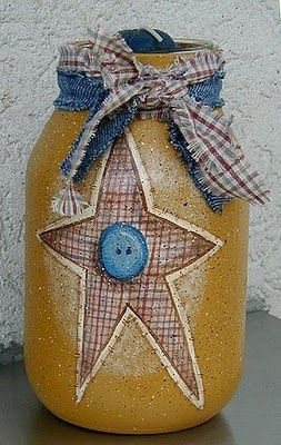 Americana Painted Jars..this could be a pickle jar, spaghetti jar or just about any larger jar..i would also put a drawer knob on the top of the lid....clever