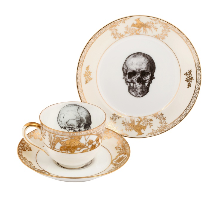 Skull gold china cup/saucer