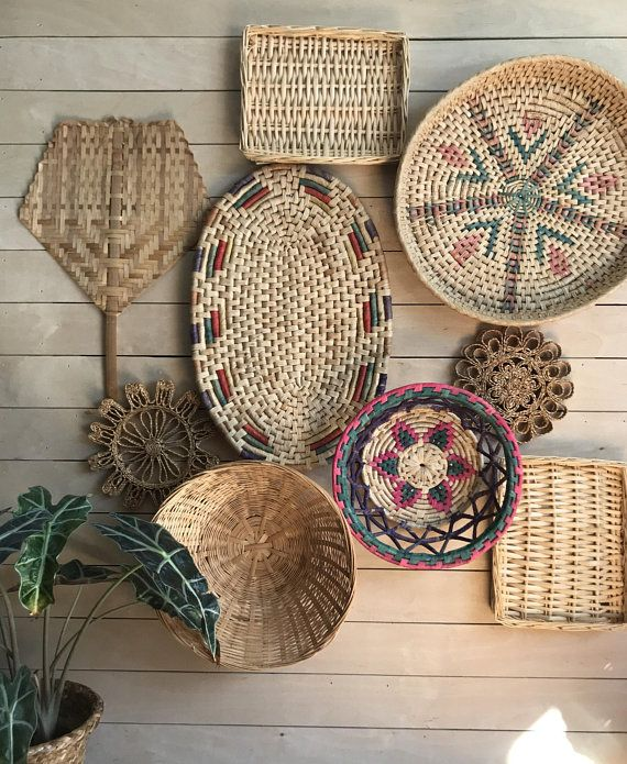 Basket Wall Art Bamboo Basket Wicker Basket Set Boho Basket Wall Art Basket Wall Decor Baskets On Wall