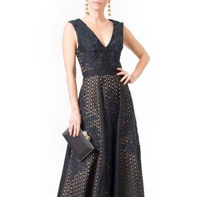 Vestido longo evasê renda bicolor Skazi - Preto - shoplixmix