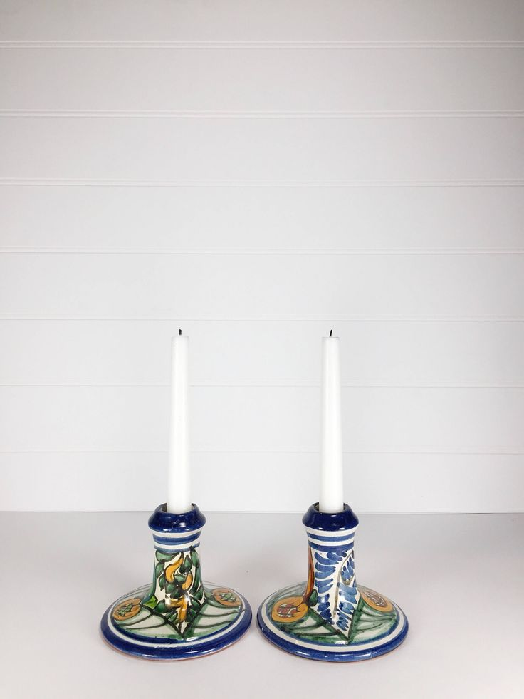 Ceramic handpainted multicoloured candle stick holders by LeroyBrownFurnishing on Etsy