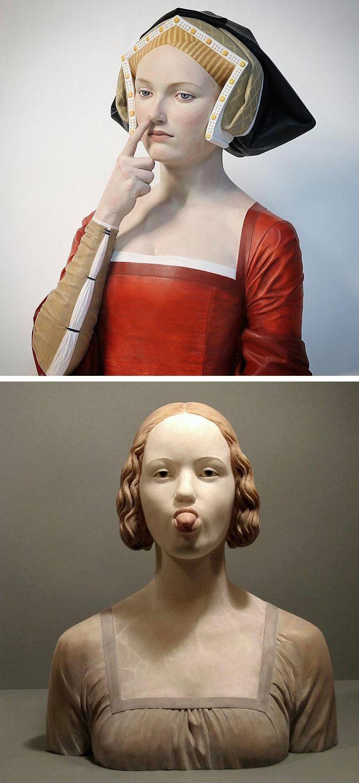 Gerard Mas creates Renaissance-style bust sculptures with a modern day twist.
