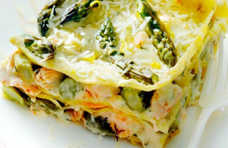 Lasagne met zalm en groene asperges
