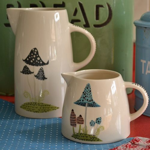 The Hannah Turner Toadstool collection, showing the Toadstool Tall Jug £27.99 and the Toadstool Creamer Jug £15.99