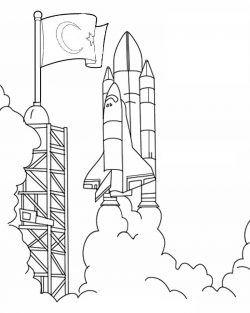 Okul öncesi Uzay Roket Boyama Türk Bayrakli Uzay Pinterest