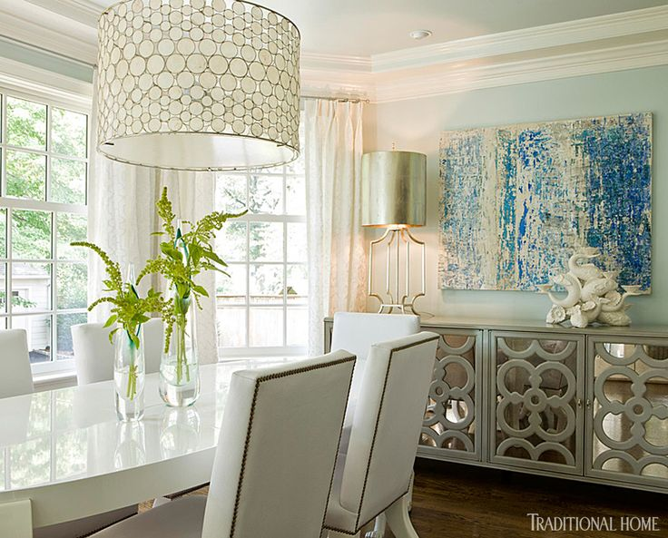House Of Turquoise Kat Liebschwager Interiors Just A Hint Color On The Walls And Beautiful Buffet Help To Create An Inviting Dining Room