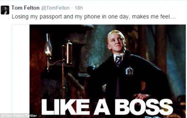 Despite the drama, Tom Felton took time out to share a meme of his Harry Potter character Draco Malfoy as he joked about the situation.