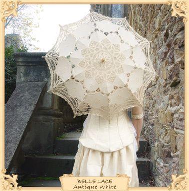 Belle Lace Parasol - Ivory or Antique White