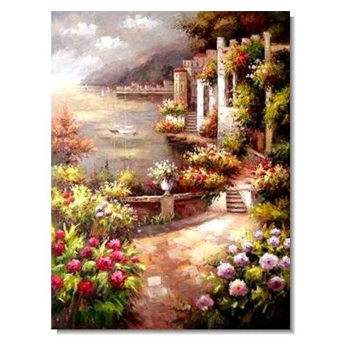 Italian Mediterranean Seascape Old Town Beach-011 Impressionist Landscape Oil Painting Canvas Art