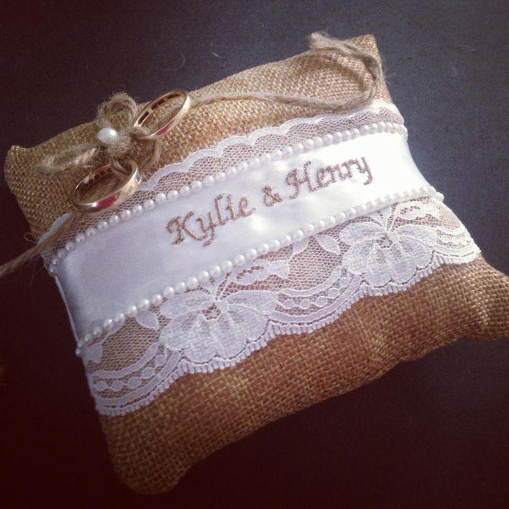 $28 Personalised Burlap Vintage Ring Pillow by bridalbling on Handmade Australia