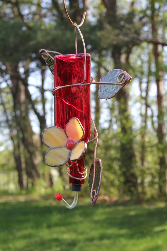 Stained+Glass+Hummingbird+Feeder+from+red+by+DeeLuxDesigns+on+Etsy