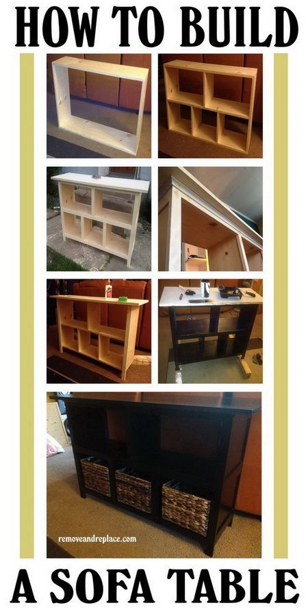 How To Build A Sofa Table – Easy DIY Step By Step I love this it would be so much cheaper to do this rather than buy it it would cost at least 200 bucks to buy. - Gifts 4 Others ~