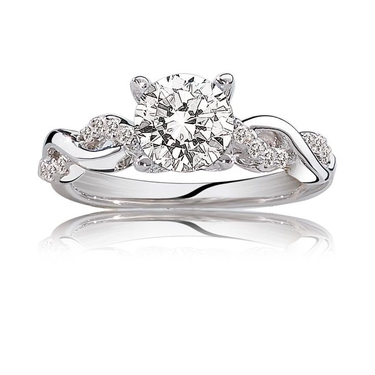 Gabriella. ArtCarved Pavé Diamond Engagement Ring Setting in 14k White Gold