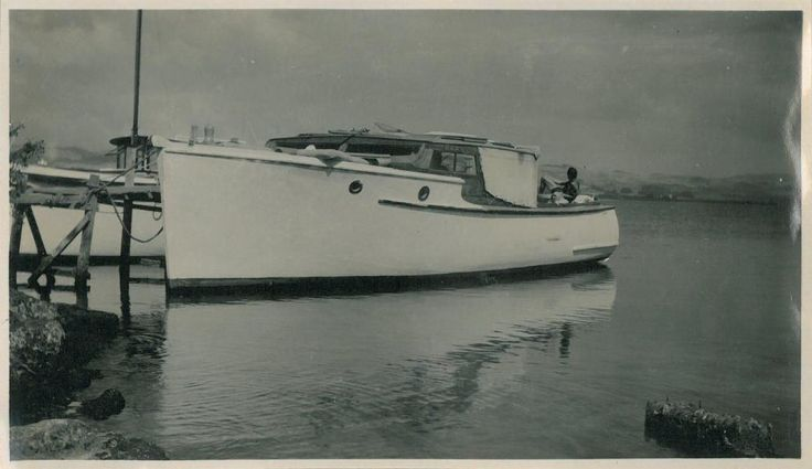 This launch was donated to the Services Convalescent Hospital at Rotorua, by the Patriotic Fund. She is named at this time El Alamein and was used by the hospital from 1945 to 1949.  Photograph by Mr Kay Taylor