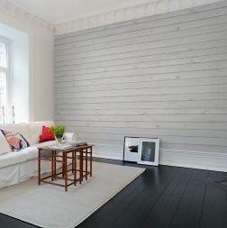 Touchons du bois avec ce papier peint effet matière planches de bois peintes en blanc. Créez une illusion saisissante à vos murs avec ce véritable trompe-l'œil.