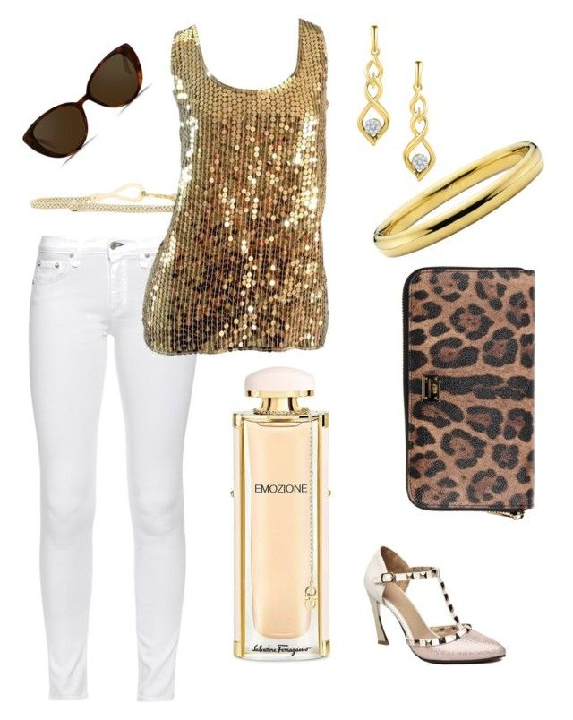 """Golden Summer"" by wardrobepieces on Polyvore featuring Salvatore Ferragamo, rag & bone, Anne Klein, Oleg Cassini, Dolce&Gabbana and Linda Farrow"