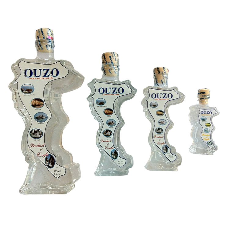 Greek Ouzo from Corfu, made from a specific combination of pressed grapes and herbs, such as anise, licorice, mint, wintergreen, fennel and hazelnut.  Ούζο από την Κέρυρα, κατασκευασμένο από ένα συγκεκριμένο συνδυασμό από πεπιεσμένα σταφύλια και βότανα, όπως γλυκάνισο, γλυκόριζα, μέντα, πυραλίς, μάραθο και φουντούκι.