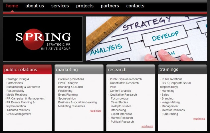 """""""SPRING GROUP"""" LLC is specializing in strategic researches, Public Relations, Advertising and etc"""