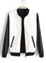 White Contrast Long Sleeve Pockets PU Jacket