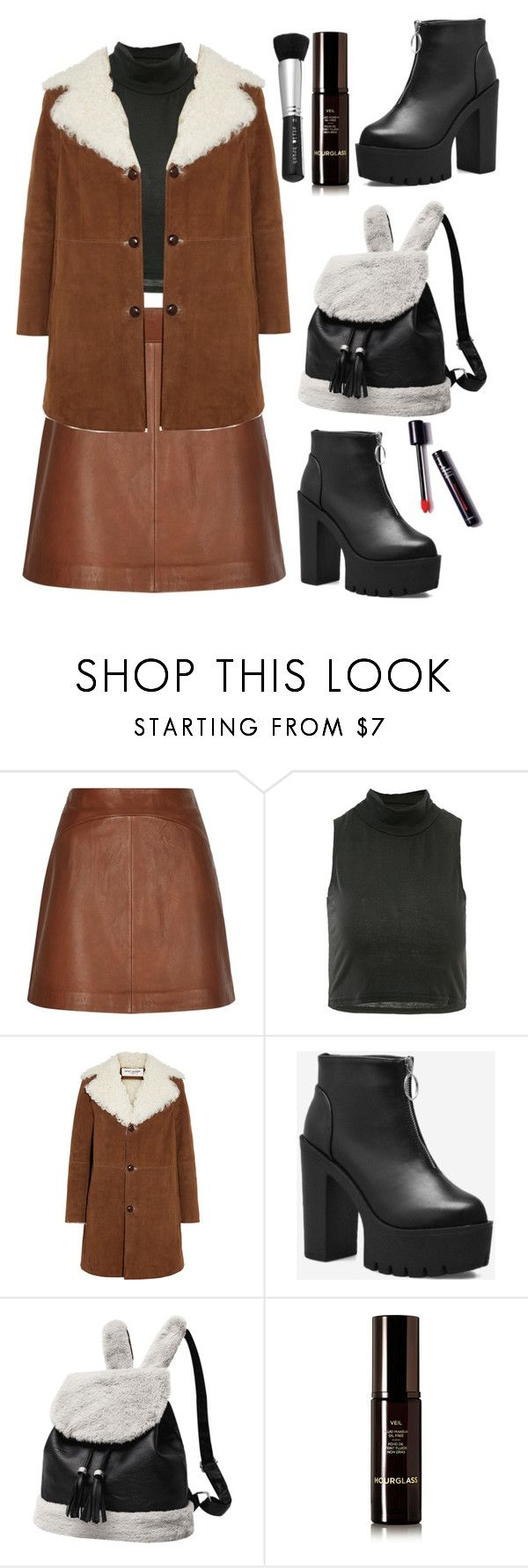 """""""Brown And Black Winter ❄️ Outfit #666"""" by earthelglowing ❤ liked on Polyvore featuring Reiss, Yves Saint Laurent, Hourglass Cosmetics, Stila and GetTheLook"""